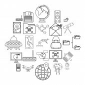 Future Icons Set. Outline Set Of 25 Future Vector Icons For Web Isolated On White Background poster