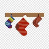 Christmas Gift Socks Icon. Flat Illustration Of Christmas Gift Socks Vector Icon For Web Design poster