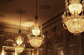 picture of pompous  - Festive or pompous room ceiling with large chandeliers - JPG