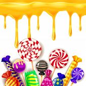 Candy Sweet Shop Colourfull Template Set Of Different Colors Of Candy, Candy, Sweets, Candy, Jelly B poster