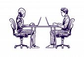 Robot Vs Man. Human Humanoid Robot Work With Laptops At Desk. Artificial Intelligence, Employees Rep poster