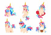 Cartoon Unicorns. Cute Magic Unicorn Set. Fantasy Baby Horse Adorable Honey Vector Animals. Illustra poster