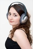 Young Woman Listening Music