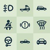 Automobile Icons Set With Pickup, Handbrake Warning, Windscreen Defrost Optimization Elements. Isola poster