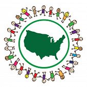 image of the united states america  - Children united holding hands around United States of America - JPG