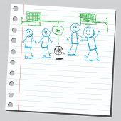 Scribble kids playing soccer