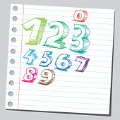 Scribble colored numbers