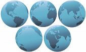 Five Planet Earth Globes In Soft Blue Light poster