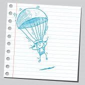 Parachuter de mão desenhada