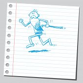 image of cartoon people  - Hand drawn old man running - JPG