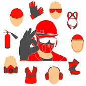 Occupational Safety And Health Vector Icons And Signs Set. Protective Helmet Goggles, Footwear, And  poster