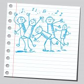 Scribble style illustration of a party people
