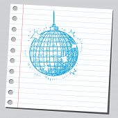 Scribble style illustration of a disco ball