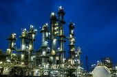 Oil And Gas Refinery Plant Or Petrochemical Industrial Plant On Blue Sky Twilight Background, Factor poster