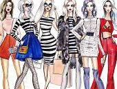 Illustration Fashionable Girls. Shopping. Fashion Illustration. Fashion Banner.collage. Art Sketch O poster