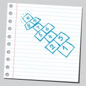foto of hopscotch  - Sketchy illustration of a hopscotch fields - JPG