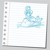 Sketchy illustration of a mermaid siting on a rock