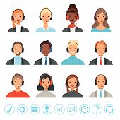 Call Center Operators Avatars. Male And Female Customer Service Contact Help Managers Vector Web Pic poster