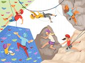 Climb Characters. Extreme Sport Cliff Wall Rocks And Stones Big Rocky Hills And Mountains Explore Ve poster