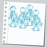 Sketchy illustration of a group of businessmen walking