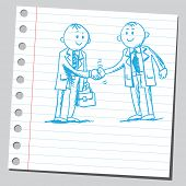 Sketch of a two businessmen shaking hands