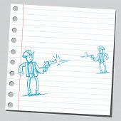Drawing of a gunmen shooting