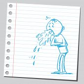 Drawing of a man vomiting
