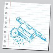 Sketchy illustration of a sharpener and pencil