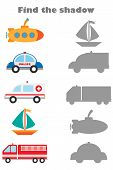 Find The Shadow Game With Pictures Of Different Transport For Children, Education Game For Kids, Pre poster