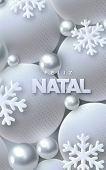 Feliz Natal. Merry Christmas. Vector Typography Illustration. Holiday Decoration Of White Paper Lett poster