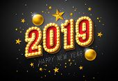2019 Happy New Year Illustration With 3d Light Bulb Typography Lettering And Christmas Ball On Black poster