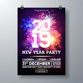 2019 New Year Party Celebration Poster Illustration With Typography Design And Firework On Shiny Col poster