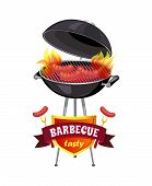 Barbecue Tasty Brazier With Sausages Isolated Icons Set Vector. Cookout Mangal And Roasting Frankfur poster