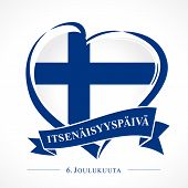 Love Finland Emblem With Heart In National Flag And Finnish Text: Independence Day 6 December. Natio poster