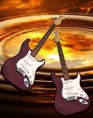image of stratocaster  - Rock guitar making sound waves in a sunset - JPG