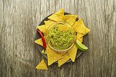 Guacamole Sauce With Corn Nachos Chips On Plate poster
