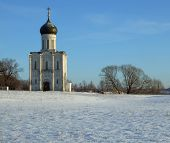 Temple Of Cover On Nerli  In Winter