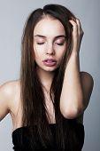 Emotional Girl Brunette Pulling Her Hair