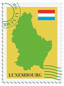 stamp with map and flag of Luxemburg