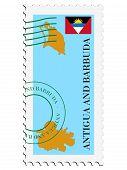 sello con mapa y bandera de Antigua y Barbuda