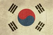 Grunge sovereign state flag of country of South Korea in official colors.