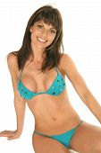 Sassy Girl en blanco en Bikini turquesa