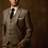 stock photo of vest  - Man in classic suit - JPG