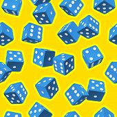 Vector dice seamless background. Blue on yellow