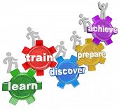 Several people or students climb up a series of gears to accomplish a goal or mission, with each gea