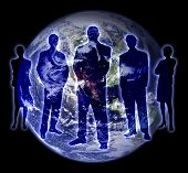 picture of world-globe  - shade of the people with earth on background - JPG