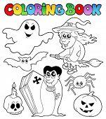 Livro de colorir tema Halloween 7 - ilustração do vetor.