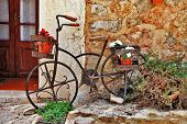 Deia traditional stone village in Majorca , streets decoration