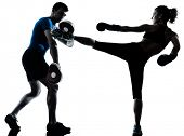 picture of martial arts girl  - one caucasian couple man woman personal trainer coach man woman boxing training silhouette studio isolated on white background - JPG