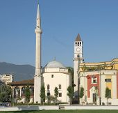 Ethem Bey mosque and Clock Tower in square Skanderbeg of Tirana